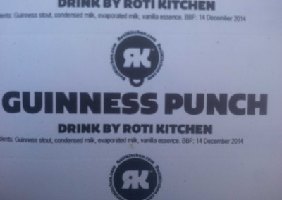 Guiness Punch drink by Roti Kitchen - label