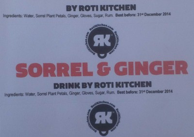 Sorrell & Ginger Drink by Roti Kitchen - label